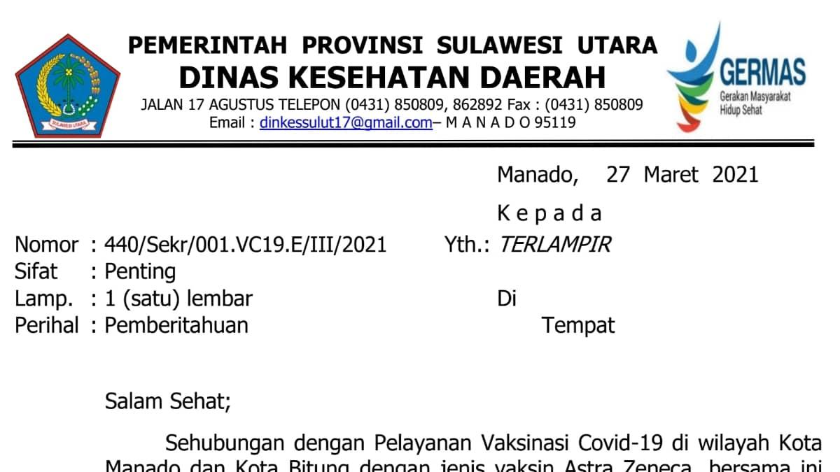 Vaksin Astra Zeneca dihentikan sementara, ini penjelasan Pemprov Sulut