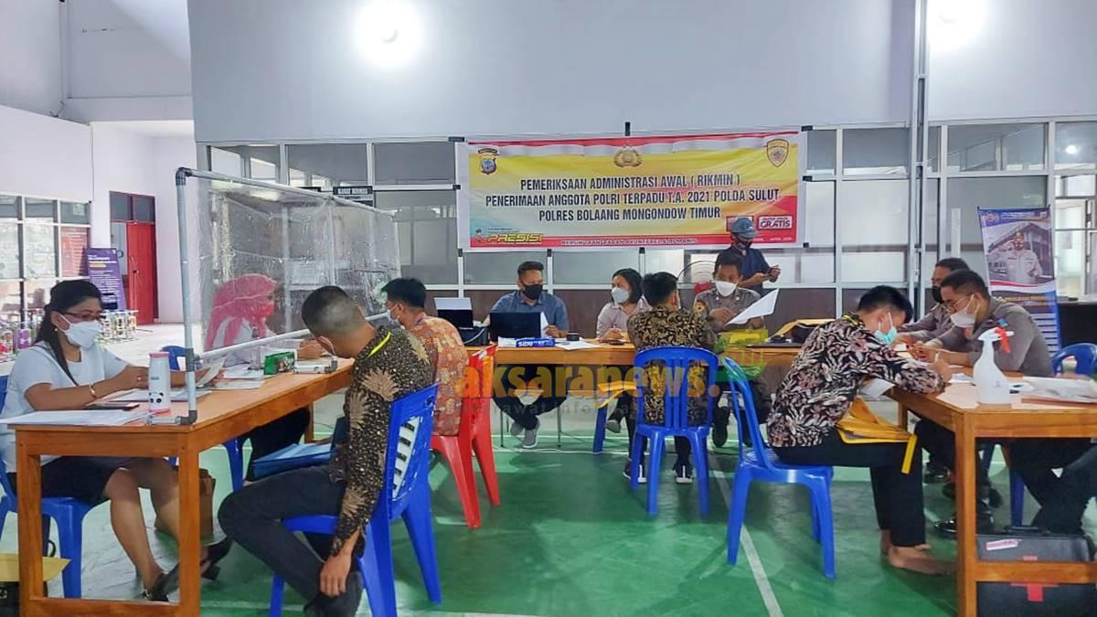 Polres Boltim lakukan pemeriksaan administrasi penerimaan anggota Polri terpadu 2021